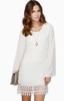 2015 Spring Summer Fashion Women Chiffon Dresses Long Sleeve Lace Casual Loose Mini Dress Plus Size Female Vestido 169
