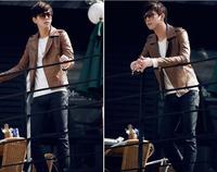2014 Spring And Summer New Men's Slim Leather Jacket Men Installed Wagon Washed Pu Jacket For Men
