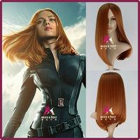 Captain America 2 Black Widow Wig Natasha Romanoff Medium Long Straight Synthetic Anime Cosplay Wig