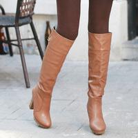 2014 female botas de inverno brand new women shoes autumn winter sexy platform pump warm PU leather knee high boots barreled