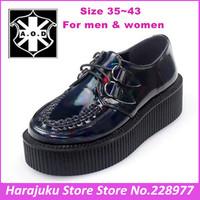 5 cm Heels EUR 35~43 Original AOD Men And Women Goth Punk Harajuku Creepers Dark Blue Hologram Platform Creepers