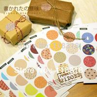 (1 Lot=1 Set=208 Pcs Round) DIY Scrapbooking Cute Diary Paper Album Decal Stickers Envelope Seal Sticker