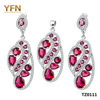 TZ0111 Genuine 925 Sterling Silver Set Fashion Silver Wedding Jewelry Set Pink CZ Drop Earrings and Pendant Gifts For Women