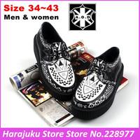 5 cm Heels EUR 34~43 Branded AOD 2014 Men Women Fashion Goth Punk Gaffiti Creepers Flats Boat Shoes Creeper Platform Shoe