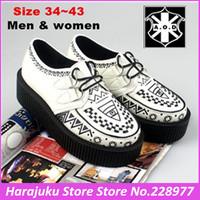 5 cm Heels EUR 34~43 New Arrival 2014 Men And Women White Graffiti Goth Punk Street Creepers Platform Shoes Flats Heel Shoes