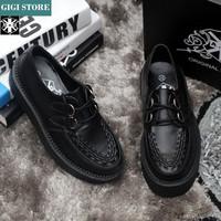 5 cm Heels EUR 34~43 New Fashion 2014 Men And Women Black Goth Punk Street Creepers Platform Shoes Flats Heel Shoes