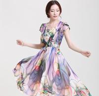 M-XXXL Elegant 2014 New Chiffon Dress Large Swing Printed Bohemian Dresses Women Summer Dress