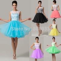 Classy Women Cute Sleeveless Short Lace Prom Dress Blue,Black,Pink,Yellow,Green,Purple Graduation Homecoming Dresses CL6123