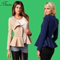 Long Sleeve Zipper Short Jacket Coat Floral Peplum Hem Women Blazer Slim Fitted High Ruffle Waisted Peplum Top Clothing