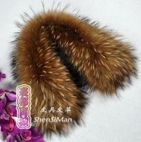Foxtail High quality fur raccoon 50cm 100%real raccoon fur collar shawl women's winter scarf