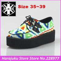 5 cm Heels AOD 2014 New fashion HARAJUKU style women's shoes vintage lace up gaffiti creepers platform flat shoes