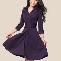 New 2014 free shipping women's autumn winter dress temperament Slim was thin waist big base lady puls size vintage dress