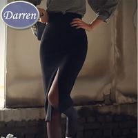 Latest Design 2014 Winter and Autumn Saias Femininas High-slit Women's Fashion Long Skirts  High Waist Pencil Skirt Black Color