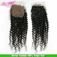 6A Berrys hair,Brazilian Virgin kinky Silk Base lace closure 8-22inch in stock cheap price hair extension