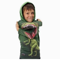 promotion! cotton dinosaur hoodies 3~11 age children's t shirts for boys baby clothing novelty cothing  08