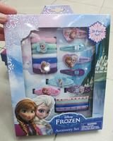 Wholesale New 50box Cartoon Princess Frozen Anna elsa 4 Snap clips 3 Barrettes 7 Elastics 6 Terries