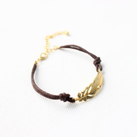 Fashion vintage brown rope charm bracelet with gold plated leaf for women jewelry 2014 free shipping
