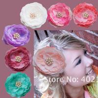 Wholesale 1.5CM Pearl Rhinestone Silk Hair Flower with Clips for Girl's Headband ,Women Headwear,DIY Cloth Accessories Set