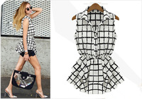ALK3810 Free Shipping Fashion Women Summer Plaid Striped Blouse Collect Waist Sleeveless All-Match Shirt tops for ladies blouses
