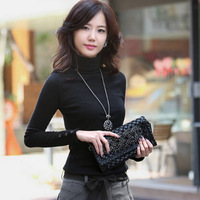 women turtleneck sweater 2014 autumn winter new fashion casual buttons long sleeve solid color pullovers sweaters plus size XXL