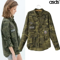 Fall 2014 new Europe and the United States Super beauty fashion temperament camouflage coat embroidered shirt