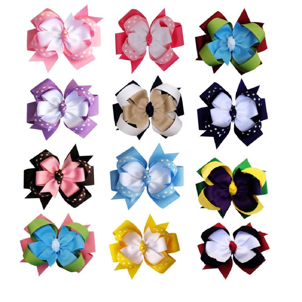 """12pcs Grosgrain Hair Bows Loopy Chunky Hairpin Baby Girl Boutique Hair Accessories for Headband NO Hair Clips 4"""" Mixed 12 Color(China (Mainland))"""