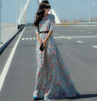 New 2014 autumn winter women vintage fashion blue lace long dress floral patterns print floor length plus size sexy maxi dresses