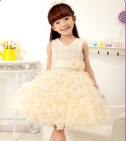 Hot retail! new arrive cute girl wedding dress princess ,flower girl party dress for new year 4color free shipping G-13