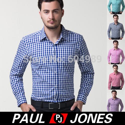 Free Shipping Fashion Leisure Men's Casual Shirts Slim Fit Dress Plaid Small Grid Tops long-sleeved mens shirts Autumn CL6299(Hong Kong)