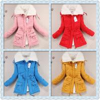 free shipping hot-selling new 2014 fashion Slim Plush inside winter coat women, casual thinkening warm  long sleeved women coat