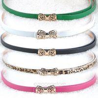Free Shipping 2014 Brand New Fashion Women's Lady PU Leather Thin Narrow Bowknot Waist Belt Waistband Strap 31MHM089#S5