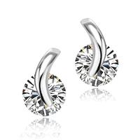 New Arrival Simple Elegant Silver Plated Women Temperament Fashion Zircon Crystal Stud Earrings Jewelry For Women 2014 Wholesale