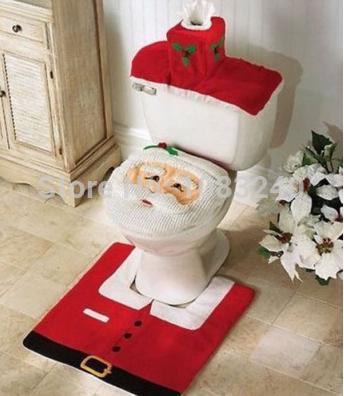 Frohe weihnachten dekoration ornamente santa claus WC tankdeckel abdeckung matten navidad Urlaub neue jahr liefert 3 stück/set