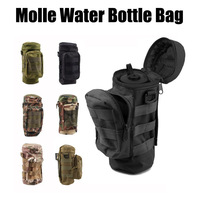 Military Tactical Molle Zipper Water Bottle Hydration Pouch Bag Carrier Army Fans Round Kettle Bag for Hiking Hunting Sports