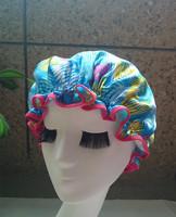 New 2014 Hawaii Wholesale Satin waterproof shower cap  shower parts barber salon supplies colorfull EVA hat hair satin bonnets