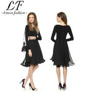 2014 Women Black Mid Princess Chiffon Dress with Full Sleeved Flippy Hem Patchwork