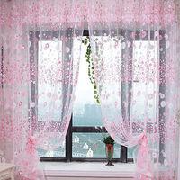 Stylish Floral Tulle Voile Door Window Curtain Drape Panel Sheer Scarf Valances