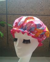New 2014 10pcs/lot Hawaii Wholesale Satin waterproof shower cap  shower parts barber salon supplies EVA hat hair satin bonnets