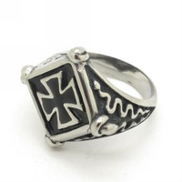 Fashion Trendy PUNK 316L Stainless Steel Spider Wed Jewelry Men's Silver Simple Design Flame Cross Ring
