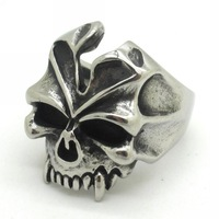 Hot Sale !! 316L Stainless Steel Men's Simple Design Gothic Skull Ring New Arrival Motorbike Silver Jewelry
