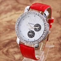 Free shipping 2014 new fashion Crystal Diamond Rhinestone Watches Ladies Leather Quartz Wristwatches XMAS Gift(quartz watch)