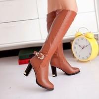 2014 Autumn Knee Boots Women Fashion Footwear Thick Heel Long Boot Plus Size Side Zipper Platform High-Leg Boots Free Shipping