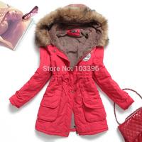 2014 Korean winter jacket women thickened hooded parka fur collar cashmere plus size female coat casual jacket jaqueta feminina
