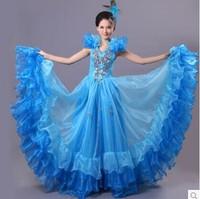 fashion performance dress, expansion long design dance costume