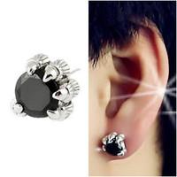 Hot New 2014  Fashion Classic 925 Sterling Silver Men Dragon Claw White Zircon Black CZ Onyx  Party Stud earrings(Single)