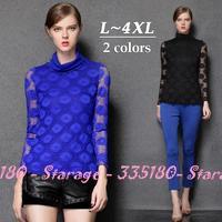 L-4XL Brand Blue Turtleneck Lace Hollow Long Sleeve T-Shirts Ladies Tops Shirt 2014 Autumn Winter Big Size Women Clothes 1537