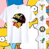 2014 new Hrajuku cute cartoon Doodle Simpsons print mens funny t shirts T-shirt summer causal slim top tee bart homer simpson