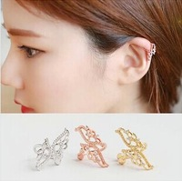 High-quality Rhinestone Double Wing Butterfly Non-pierced one pcs  Ear Cuff Clip Earrings women 2014 newest rose gold or silver