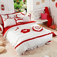 Princess Korean garden princess denim cotton textile cotton bedding set  manfeijf