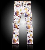 New Fashion  Sea Shells Pattern Young Men Slim Print Jeans Man Style Drawing Club Street Pant
